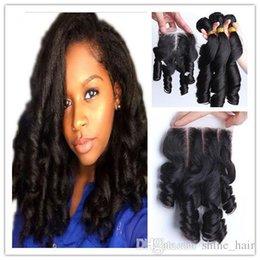 Malaysian Aunty Funmi Hair With Closure 4Pcs Lot Cheap 7A Virgin Malaysian Romance Curls Funmi Hair Weave Bundles With 4x4 Lace Closure