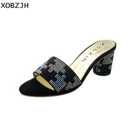 2dd7289d84c2 ladies block heel sandals 2019 - XOBZJH Women Black Sandals Summer 2018  Genuine Leather Peep Toe