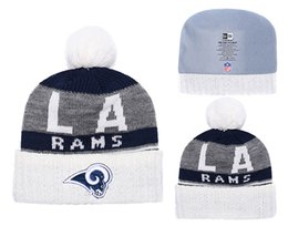 8e99006d5b2eda Men's Los Angeles Rams New Navy 2018 Sideline Cold Weather Official Sport  Gray Rebound Pom Cuffed Knit Hat