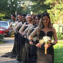 $enCountryForm.capitalKeyWord Australia - 2018 Black Mermaid Bridesmaid Dresses Long Sleeves Gold Lace Appliques Crystal Maid Of Honor Gowns For Wedding Sweep Train Bridesmaid Dress