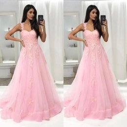 $enCountryForm.capitalKeyWord Australia - Pink Party Prom Dresses 2019 A Line Spaghetti Lace Appliqued Organza Custom Made Formal Evening Party Gowns Plus Size