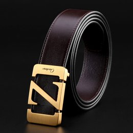 Z Buckle Leather Belt NZ - Letter Z Solid Brass Buckle Leather Belt Leather Business Brand Belt Gift Box Mens Belts Father's Day Gift