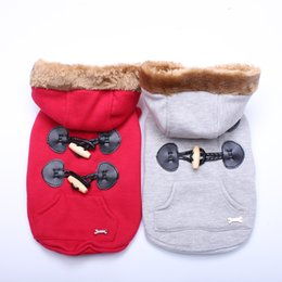 Wholesale horn buckle resale online - Small Dog Cat Coat Hoodie Horn Buckle Cesign Pet Puppy Jacket Warm Apparel sizes Available