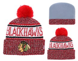 $enCountryForm.capitalKeyWord NZ - Top Quality One Pice Cheap Hockey Beanies Team Logo Embroidered Chicago Blackhawks Cuffed Knit Hat Sport Skull Men Women Winter Caps