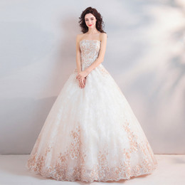 Sparkling Tulle Wedding Dress Australia - 2019 New Elegant Full Length Wedding Dresses Strapless Appliques Sparkle Tulle Lace A-line Bridal Gowns Vestido De Novia Custom Made