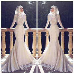 lace long sleeve fishtail dress NZ - Muslim Slim Fishtail Arabic Style Mermaid Wedding Dresses Long Sleeves Lace Applique O Neck Hijab Mermaid Long Bridal Gowns