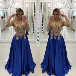 Chinese  Sexy Royal Blue With Gold Appliques Evening Dresses Caftan Formal Gowns Illusion Long Sleeves Sequin Prom Pageant Dress Evening Wear manufacturers