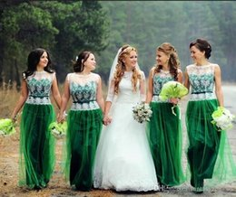 Bridesmaid Dresses Lace Tops Australia - Elegant Green Tulle A Line Bridesmaid Dresses White Lace Top With Belt Womens Wedding Party Gown cheap Maid Of honor Gown
