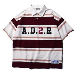 27b5d5d610c3 Best Verison Ader Logo Printed Striped Short Sleeve T Shirt Hiphop  Streetwear Men Turn Down Collar T shirt Casual Cotton Tees
