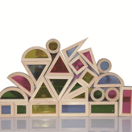 Block Month Australia - Building Blocks Toy Creative Acrylic Rainbow Educational Toy Tower Pile of Building Blocks for Children Diy Wooden Assemblage Building Block