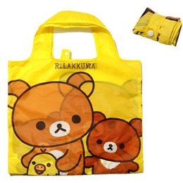 $enCountryForm.capitalKeyWord Australia - Cute Cartoon Rilakkuma Bear Big Foldable Reusable Shopping Bags Folding Shopper Bag Eco Grocery Bag Women Kids Tote Handbag