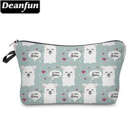 $enCountryForm.capitalKeyWord Australia - Deanfun White Llamas Cosmetic Bag Waterproof Love Hearts Makeup Bags Cosmetics Cases Pouchs 51443