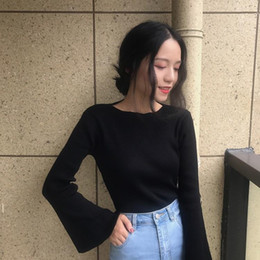 $enCountryForm.capitalKeyWord Australia - New spring dress women's wear Korean version 2019 show thin long sleeves, body-building, bottom shirt, horn sleeve sweater