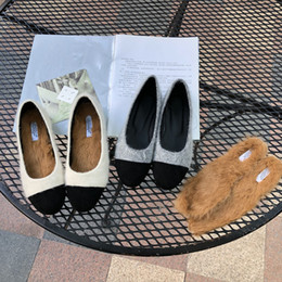 Women Velvet Clothes Australia - Lucky2019 Woman Baby Women's Shoes Winter Increase Velvet Outside Clothes Joker Flat Bottom Coarse With Sharp Rabbit's Hair Single Shoe