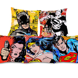 $enCountryForm.capitalKeyWord Australia - Vintage POP Art Justice League Superman Wonder Woman Cushion Covers Thick Cotton Linen Pillow Cover 45X45cm Sofa Chair Decor