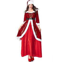 $enCountryForm.capitalKeyWord UK - Velvet Red Santa Claus Christmas Costumes Cosplay For Woman Christmas Party Cosplay