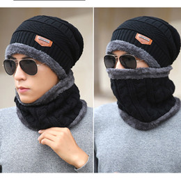 Discount sailor hat scarf - Beanie Hat Scarf Set Knit Hats Warm Thicken Winter Hat for Men and Woman Unisex Cotton Beanie Knitted Caps 100pcs CNY848