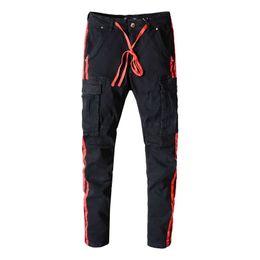 $enCountryForm.capitalKeyWord UK - American Streetwear Men Robin Jeans Black Big Pocket Denim Cargo Pants Drawstring Red Stripe Printed Jeans Slim Fit Hip Hop Jeans For Men