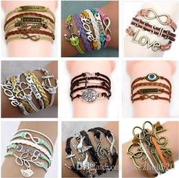 $enCountryForm.capitalKeyWord Australia - 45 mix different styles Charm Bracelets double heart owl lovely bracelets antique Love Leather charm bracelets