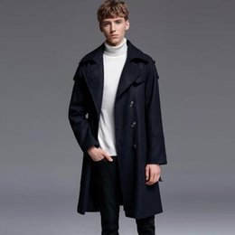 mens black double breasted trench coat Canada - New Causal Wool Coat Mens Luxury Double Breasted British Style Woolen Men Trench Jacket Plus Size 6xl Male Business Overcoat