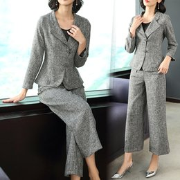 $enCountryForm.capitalKeyWord Australia - YICIYA gray 2 piece set women outfits pants suits elegant noble outfits co-ord set winter autumn office work clothing vintage