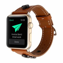 $enCountryForm.capitalKeyWord UK - For Apple new iwatch bands 42mm Replacement 38mm Bracelet Crowe Genuine Leather Strap Comfortable to Wear Exquisite for men Bands strap