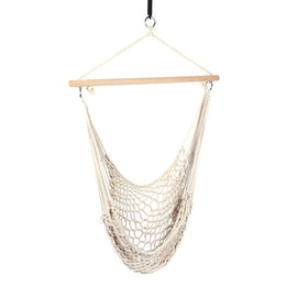 $enCountryForm.capitalKeyWord Australia - 160KG Safety Cotton Hanging Swing Hammock Chair Canvas Rope Dormitory beige Swinging Chair Outdoor Indoor Camping Cottage Garden