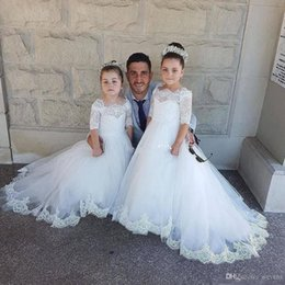 $enCountryForm.capitalKeyWord Australia - White A Line Lace Flower Girls Dresses Bateau Appliques Edge Tulle Kid's First Communion Gowns Floor Length Child Special Occasion Dress