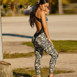 Women Sport Jumpsuits Australia - Berrypark 2019 New Women Cross Backless Camouflage Yoga Set Patchwork Stretchy Fitness Jumpsuit Gym Wear Sport Suit Dropshipping Y190508