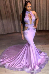 Black Formal Dresses South Africa Australia - 2019 Sexy Black Girls Halter Neck Prom Dresses Keyhole Appliques Beaded Mermaid South Africa Style Formal Occasion Evening Party Dresses