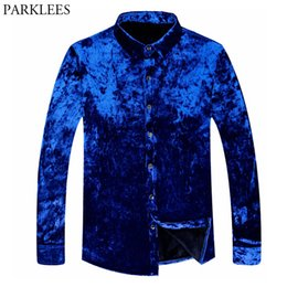 Mens lined shirts online shopping - Trend Royal Blue Velvet Shirt Men Winter New Slim Fit Flecce Lined Dress Shirts Mens Casual Warm High Quality Shirt