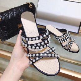$enCountryForm.capitalKeyWord Australia - Block Heeled Pearl Embellishment 2019 Women Sandals Black Soft Leather Slides Open Toe Comfortable Women Shoes
