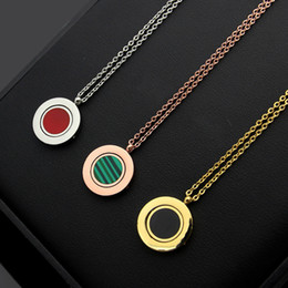 Necklaces Pendants Australia - New Arrive Fashion Lady 316L Titanium steel Lettering 18K Plated Gold Necklaces With Rotating Malachite Carnelian Two-sided Pendant