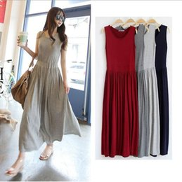 Discount sleeveless pleated chiffon vest dress skirt 2019 new women's summer modal dress fashion slim pleated skirt cross-strait vest in the long beach skirt