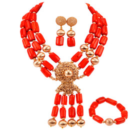 $enCountryForm.capitalKeyWord Australia - Fashion Nigerian Traditional Wedding Orange Coral Beads Necklace Set African Beads Jewelry Set for Women RCBS30
