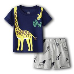 cover crystal set UK - Giraffe Clothes Suit For Boy 6 9 12 18 24 Month Summer Baby Tee Shirts Shorts Pants 2-Pieces Sets Outfits Cotton Tops Jumpsuits