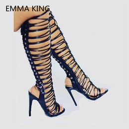 845be3a4ad Ladies Knee High Gladiator Sandals UK - 2019 Fashion Women Summer Knee High  Boots Open Toe