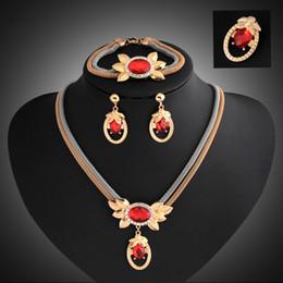 African Dubai 18k Gold Plated Set Australia - Bridesmaid Jewelry Set Wedding Crystal Pendant Necklace Bracelet Earrings Party Jewelry Sets African Like Dubai 18k Gold Jewelry