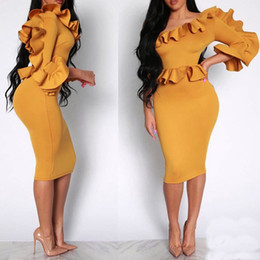 dress cloaks Canada - Women Plus Size Summer Dress Vintage Ruffled Turtle Neck Cloak Sleeve Pencil Party Elegant 2019 Tops Explosion Dress Y19051001
