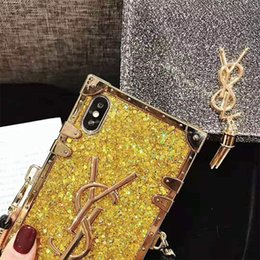 Wholesale French brand Fashion Diamond Glitter Bling Phone Case For iPhone X s Plus XR XS MAX Back Cover With Long Lanyard