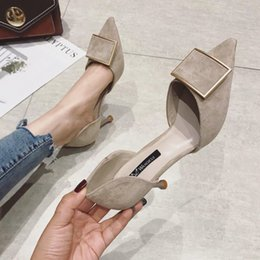 $enCountryForm.capitalKeyWord NZ - High heels 2019 new pointed hollow head sandals sexy professional single shoe square buckle cat heel net red shoes