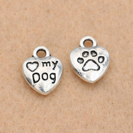 $enCountryForm.capitalKeyWord Australia - charm pendant 10Pcs Antique Silver Plated Love My Dogs Heart Charms Pendants for Jewelry Making Accessories DIY Handmade 13x10mm