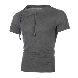 $enCountryForm.capitalKeyWord UK - Fashionable Men Solid T Shirt Lace Up Tie Neck Short Teens Tops Slim Gym Pullovers Tees for Spring