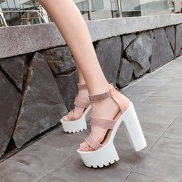 Super Blocks Australia - Spring Summer Womens Sandals Block High Heel Open Toe Suede Runway Banquet Sandals Shoes Female Sexy Crystal pink shoes YMA771