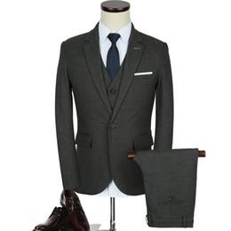 $enCountryForm.capitalKeyWord NZ - 3pc Jacket+Pant+Vest Suit Men 2018 Autumn Winter New Casual Business Mens Suits Dress Hot Sale Fashion Groom Wedding Suits Male