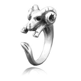 $enCountryForm.capitalKeyWord UK - Boho Chic Black Crystel Eye Sheep & Ram Metal Wrap Ring For Women Anel Animal Goat Finger Unique Biker Punk Animal Jewelry