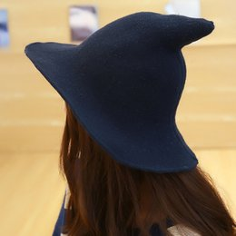 72e58ebb1f5 Witches Hats Australia - Women Cap Halloween Party Wide Brim Autumn Winter  Pointed Christmas Solid Festival