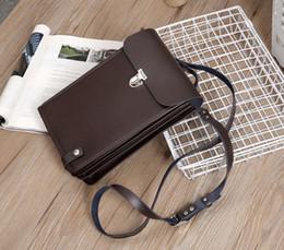 Genuine Leather Crossbody Handbags Wholesale Australia - New Genuine leather mens multi-function designer shoulder crossbody messenger ipad handbags male fashion casual business purses