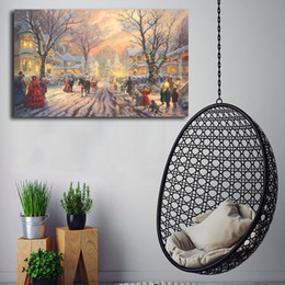 Framed Christmas Paintings Australia - Thomas Kinkade A Victorian Christmas Carol Poster Canvas Painting Oil Framed Wall Art Print Pictures For Living Room Modern Home Decoracion