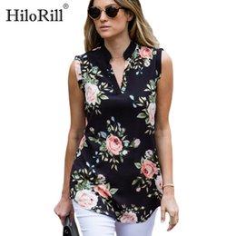 Discount vintage chiffon blouse print - Fashion Vintage Floral Print Blouse Shirt 2019 Summer Sleeveless Chiffon Blouse Sexy V Neck Women Shirts Casual Loose Ch